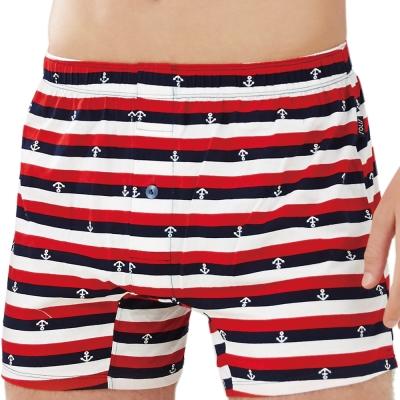 SOLIS 自由水手系列M-XXL純棉寬鬆四角褲(卡宴紅)
