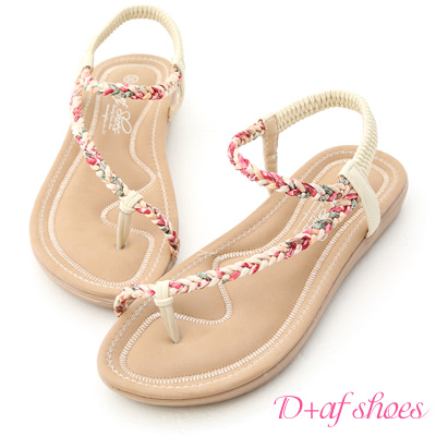 D AF 花漾夏氛.麻辮花布斜編織平底涼鞋~米