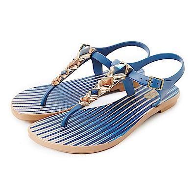 GRENDHA 晶彩T字帶條紋平底涼鞋-藍色