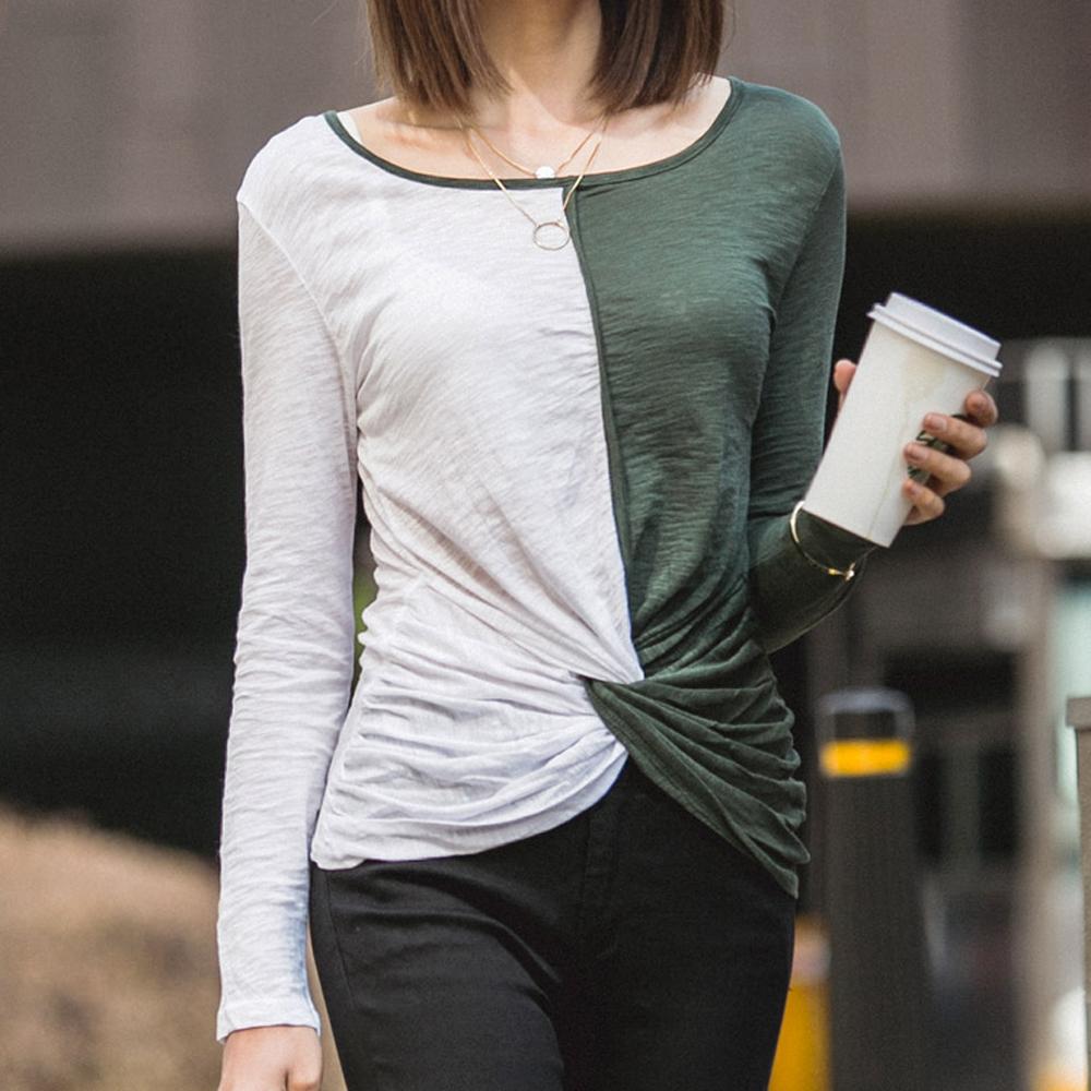 正韓 微透光雙色拼接扭轉造型T恤 (共三色)-N.C21