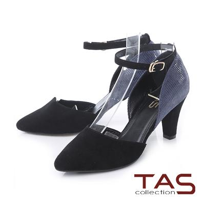 TAS 3WAY拼接跳色繫帶尖頭高跟鞋-摩登黑