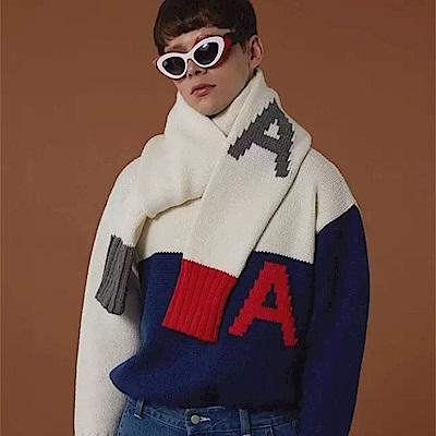 梨花HaNA 美式大學校園毛線針織A字母袖子圍巾
