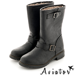 Aviator韓國空運-PAPERPLANES正韓製率性風質感皮革中筒低跟靴-黑