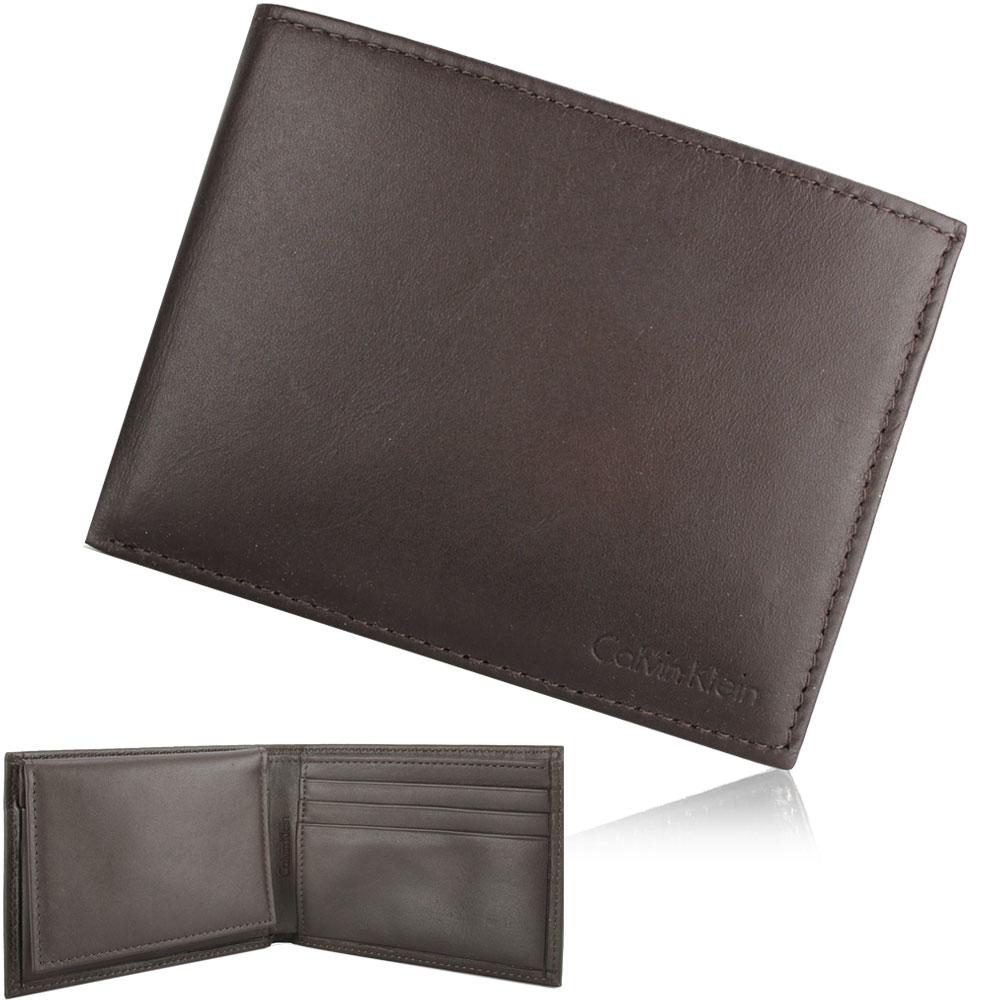 Calvin Klein 素面LOGO壓紋短夾鑰匙圈禮盒-咖啡色