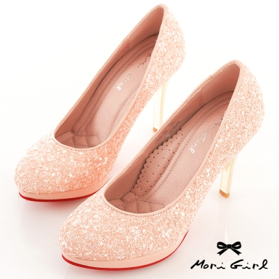 Mori girl璀璨焦點-華麗亮片高跟紅底鞋 粉