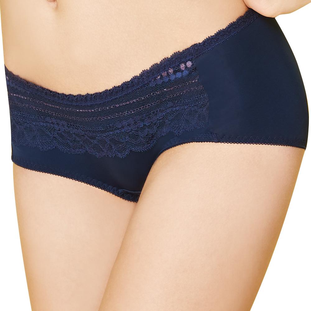 思薇爾 輕Q彈系列M-XL蕾絲中低腰平口褲(沉靜藍)