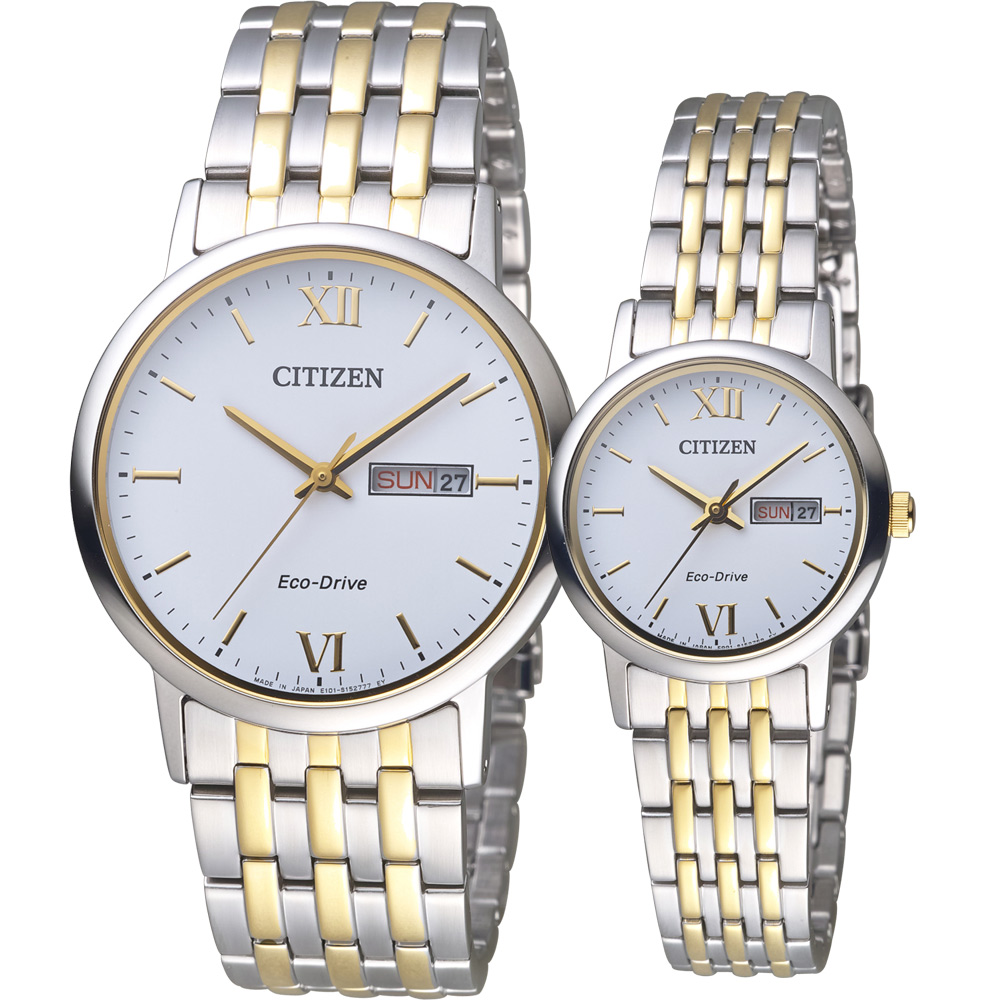 CITIZEN 星辰 編織愛戀時尚對錶-雙色/37+27mm