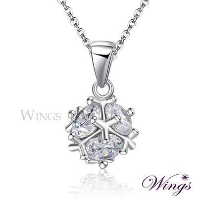 Wings 晶球閃耀 進口方晶鋯石美鑽項鍊