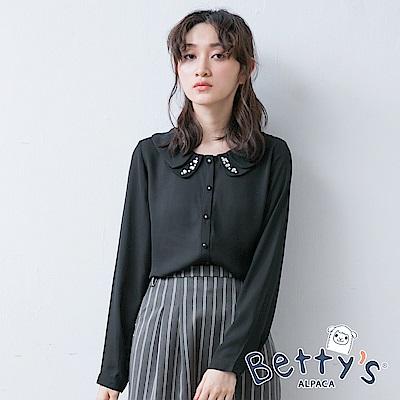 betty's貝蒂思 花瓣領點綴鑽飾開釦雪紡襯衫(黑色)