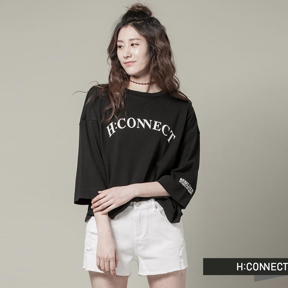H:CONNECT 韓國品牌女裝 - CONNECT防曬UV七分袖棉T - 黑