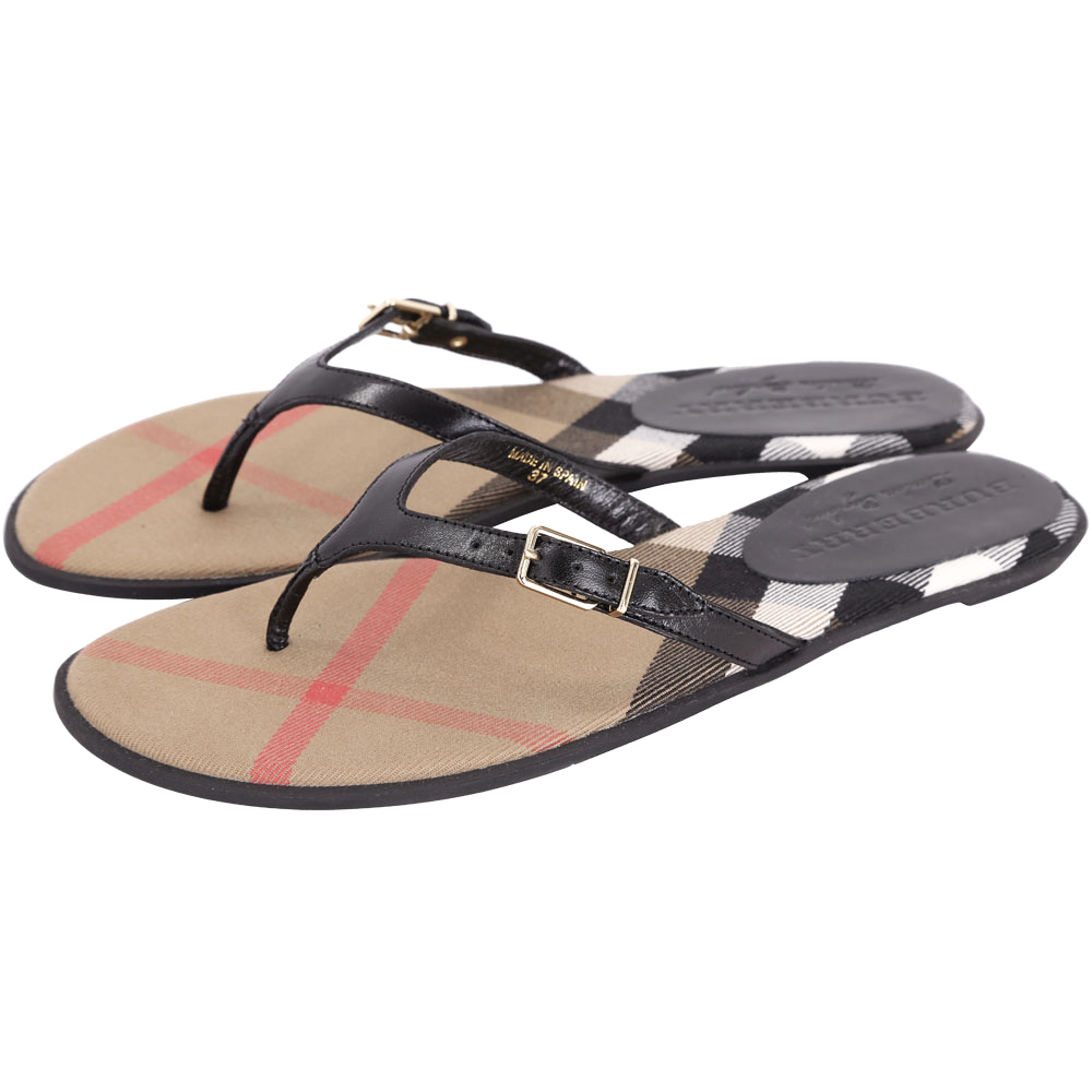 BURBERRY House 格紋拼接皮革涼鞋/拖鞋(黑色)