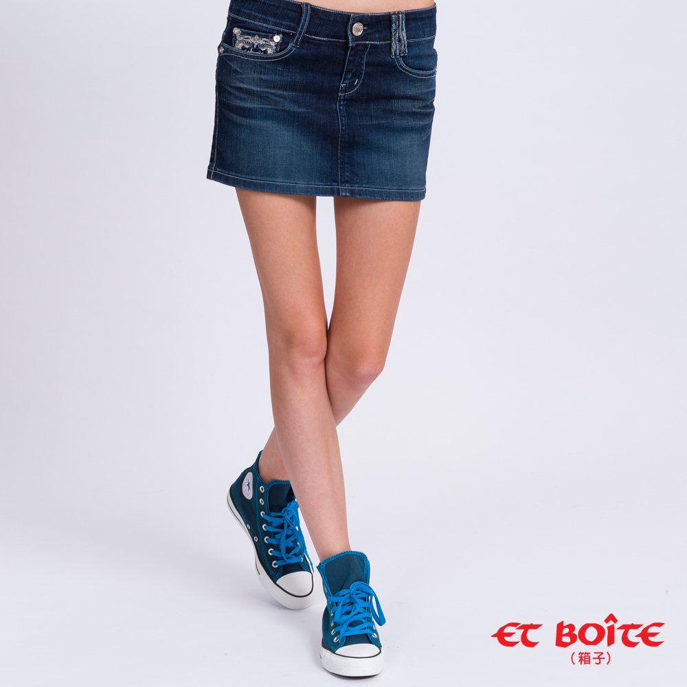 ETBOITE 箱子 BLUE WAY 巴洛克燙鑽牛仔短裙