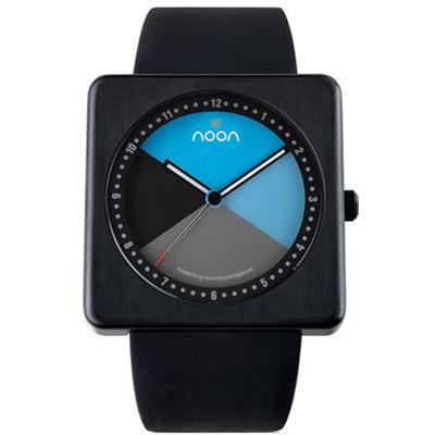 Noon Copenhagen-19系列雅亮潮流丹麥變臉腕錶-黑框藍x矽膠/43mm