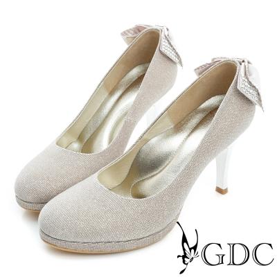 GDC-羊皮後蝴蝶結水鑽圓頭真皮高跟鞋(婚鞋)-米杏色
