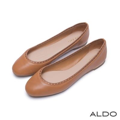 ALDO-幾何鏤空微笑金屬線圓頭休閒娃娃鞋-內斂焦