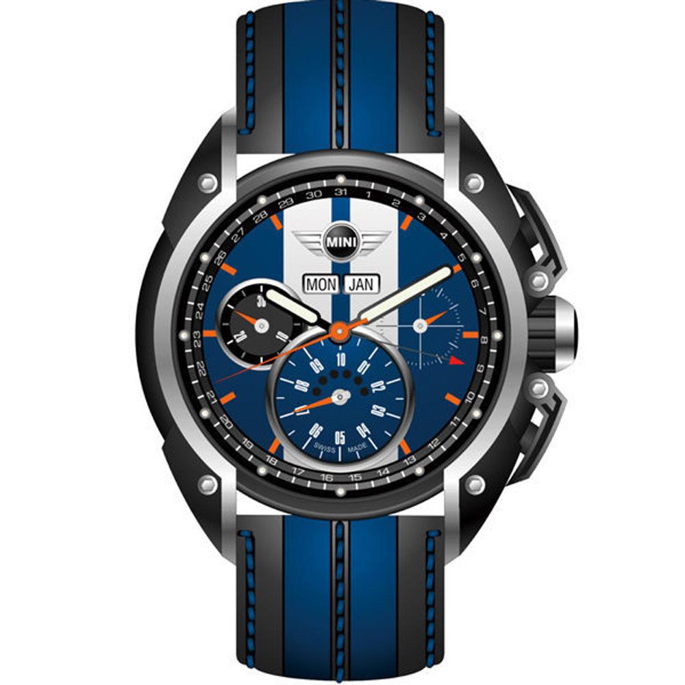 MINI Swiss Watches Cooper賽車概念三眼計時手錶-藍X黑/45mm