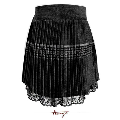 Anny夢幻系緞質壓紋蕾絲擺百摺裙*1259黑