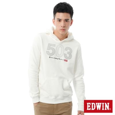 EDWIN-503線段印花厚長袖連帽T恤-男-米白