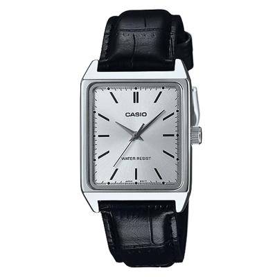 CASIO 經典時尚簡約方款指針腕錶-黑x銀面(MTP-V007L-7E1)/40mm