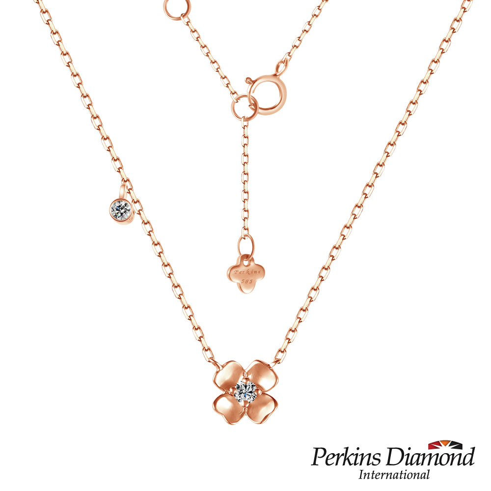 PERKINS 伯金仕 - Love玫瑰金幸運草系列 鑽石項鍊