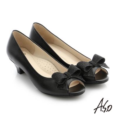 A.S.O 璀璨注目 羊皮水鑽奈米低跟魚口鞋 黑色