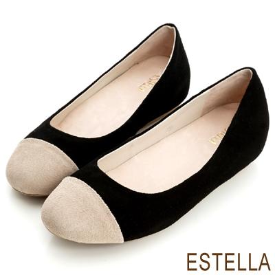 ESTELLA-誘人比例-牛麂皮雙色內增高豆豆鞋-黑