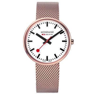 MONDAINE 瑞士國鐵MINI GIANT小巨人腕錶/35mm-玫瑰金鍊帶