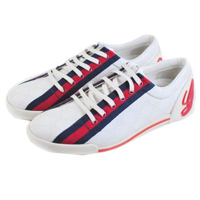 GUCCI 藍紅藍防水帆布鞋(白色/38.5號)