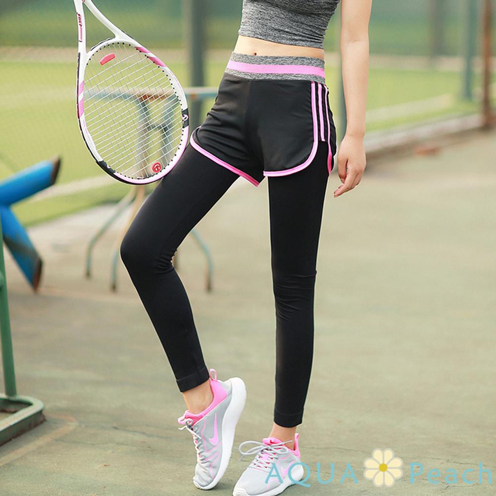 運動褲 側邊線條假兩件彈性長褲 (粉色)-AQUA Peach