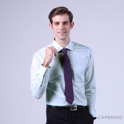 ROBERTA諾貝達 進口素材 台灣製 合身版 水鑽刺繡長袖襯衫 藍色