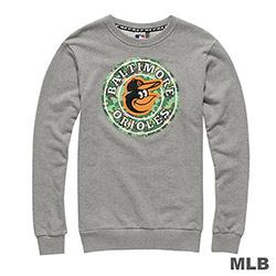 MLB-巴爾的摩金鶯隊圓領圓圖迷彩印花長袖厚T恤-麻灰(男)