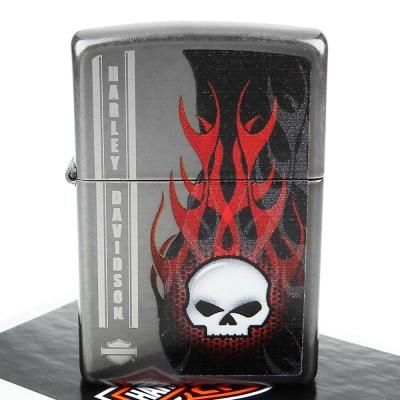 【ZIPPO】美系~哈雷~Harley-Davidson SKULL-骷髏圖案設計打火機