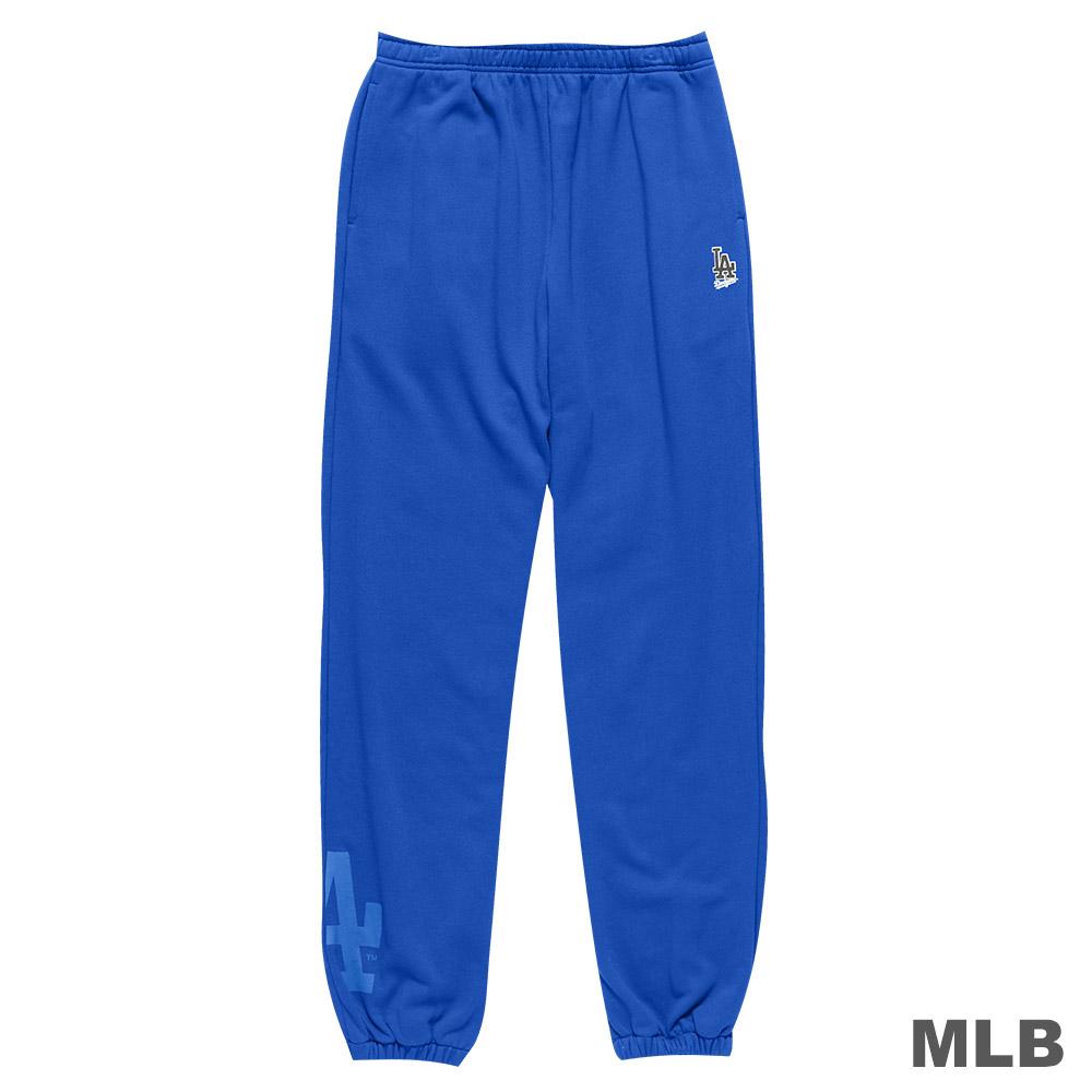 MLB-洛杉磯道奇隊縮口植絨印花厚長褲-藍(男)