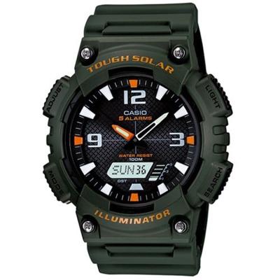 CASIO 新一代光動遊俠雙顯運動錶(AQ-S810W-3A)-軍綠X黑面/46.6mm