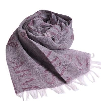 ARMANI JEANS 字母LOGO圖騰高質感羊毛圍巾(灰/酒紅LOGO)