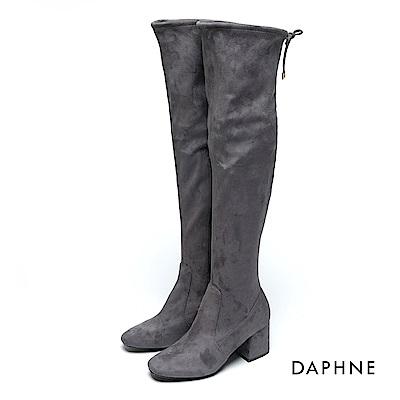 達芙妮DAPHNE 長靴-抽繩彈力絨布高跟過膝長靴-灰