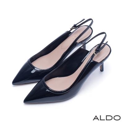 ALDO 原色漆皮尖頭拉帶式細高跟鞋~尊爵黑色