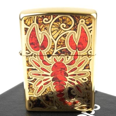 【ZIPPO】美系~Scorpion Shell-蠍子圖案黃銅鏡面打火機