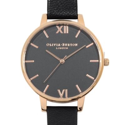 Olivia Burton 黑色真皮錶帶 黑錶面 玫瑰金錶框-38mm