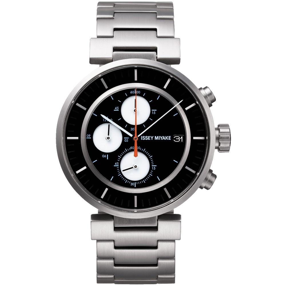 ISSEY MIYAKE 三宅一生W系列 三眼計時腕錶SILAY001Y-黑x銀/43mm