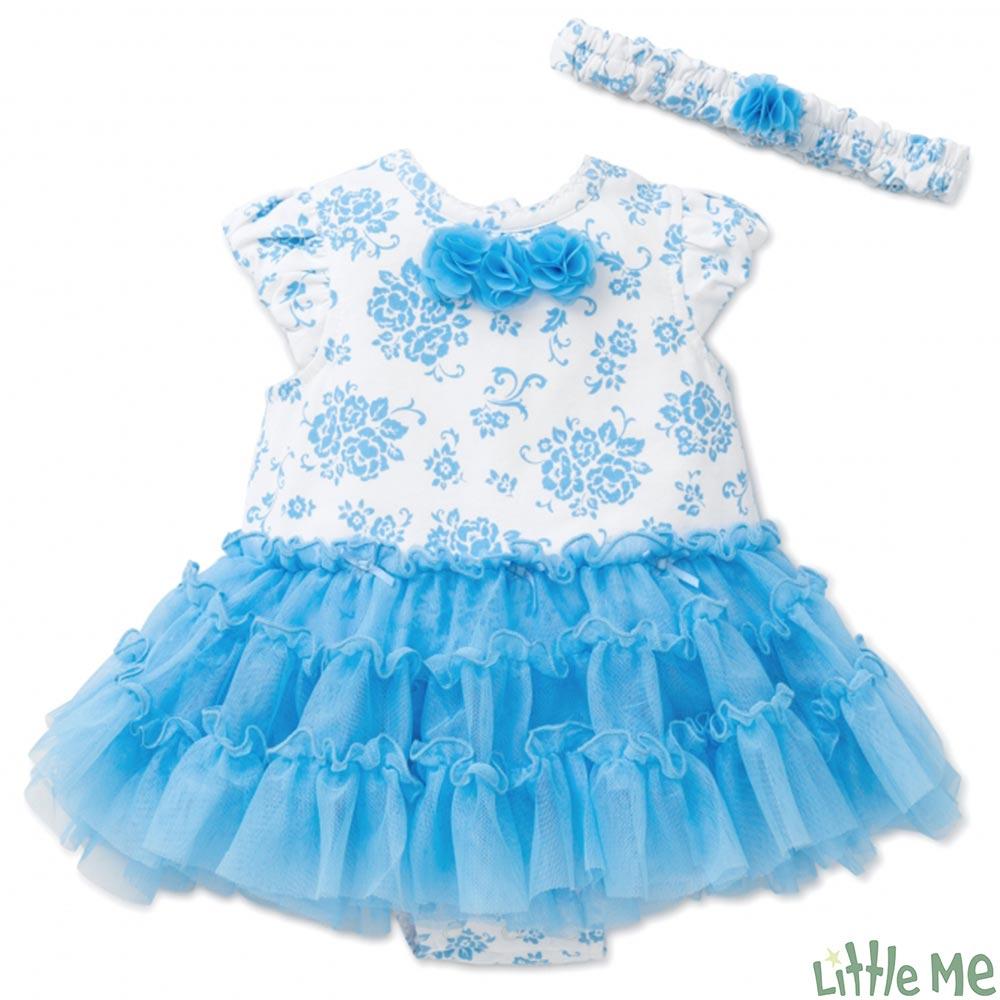 Little Me 藍白印花紗裙包屁洋裝