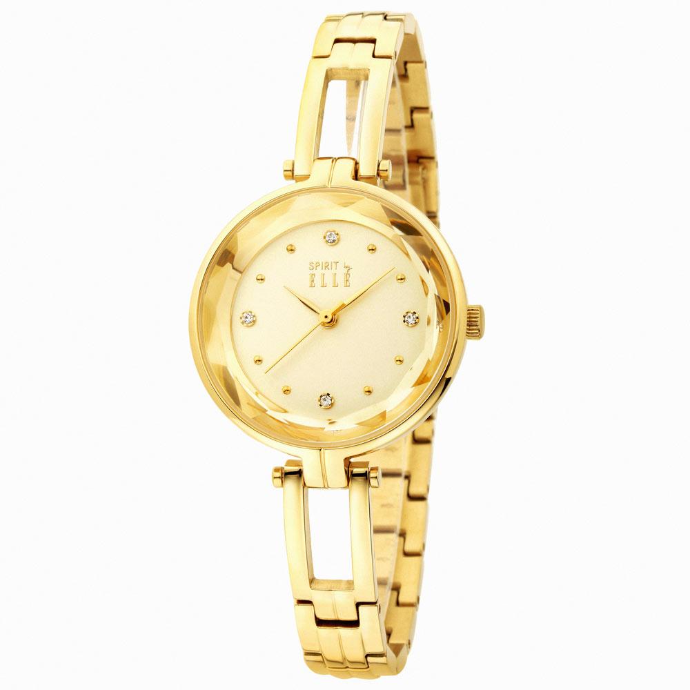 ELLE 寧靜夜空鑽石切面不鏽鋼腕錶-淡黃/32mm