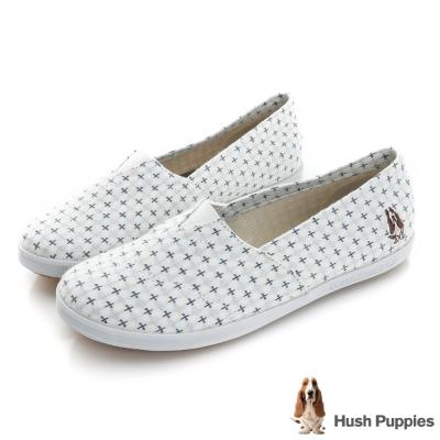 Hush Puppies 十字繡咖啡紗懶人鞋-白色