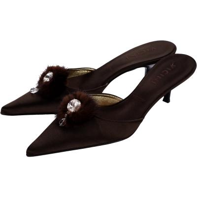 VICINI 深咖啡色緞面尖頭涼鞋(展示品)