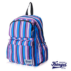 KANGOL 英國袋鼠 JUNGLE 機能時尚線條紋後背包-藍