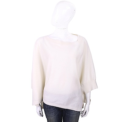 ALLUDE 喀什米爾白色斗篷式針織羊毛衫