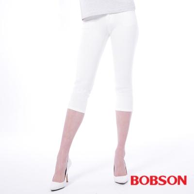 BOBSON   女款高腰膠原蛋白彩色七分褲-白色