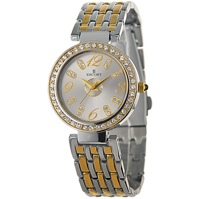 ESCORT 都會閃耀晶鑽時尚腕錶-銀/29mm