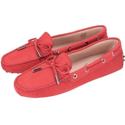 TOD'S Gommino 磨砂牛皮綁帶豆豆鞋(紅色/展示品)