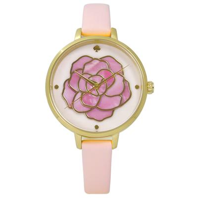 kate spade Metro 層次綻放花朵珍珠母貝真皮手錶-粉x金框/34mm